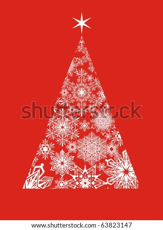 christmas tree of snowflakes on red background, individual objects for easy edition in vector format - stock vector