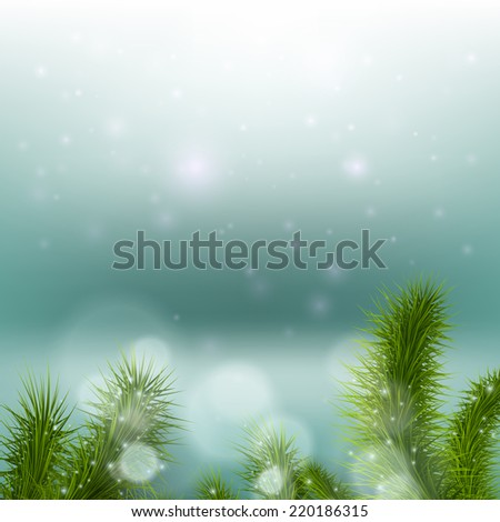 Christmas tree on a background of a snowy landscape - stock vector
