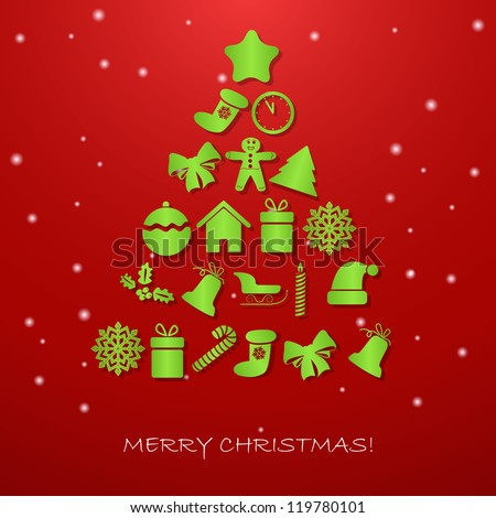 Christmas tree on a red background - stock vector