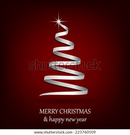 Christmas tree on a red background, vector illustration  - stock vector