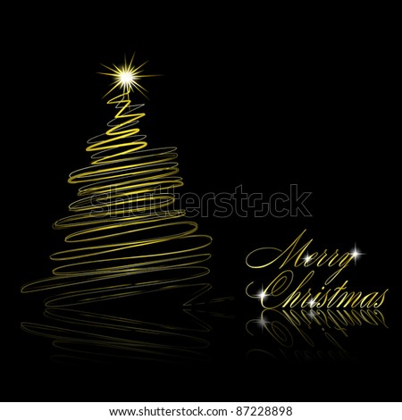 Christmas tree on black background. Vector eps10 illustration - stock vector