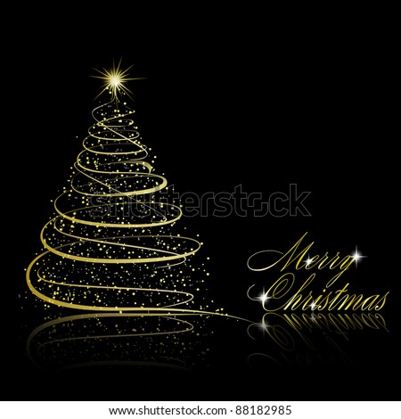Christmas tree on black background. Vector eps10 illustration
