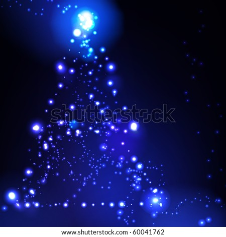 Christmas tree on blue background - stock vector