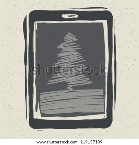 Christmas tree on tablet device, vector illustration, EPS10 - stock vector
