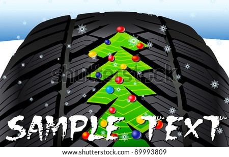 Christmas tree on the tire tread - stock vector