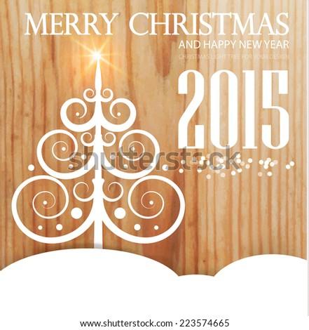 Christmas tree on wood texture. Vector illustration  - stock vector
