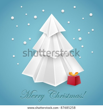 Christmas tree origami greeting card design - vector