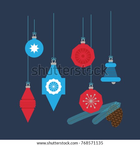 Christmas Tree Ornaments, Holiday vintage simple vector decoration