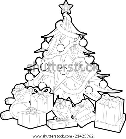 christmas tree outline - stock vector