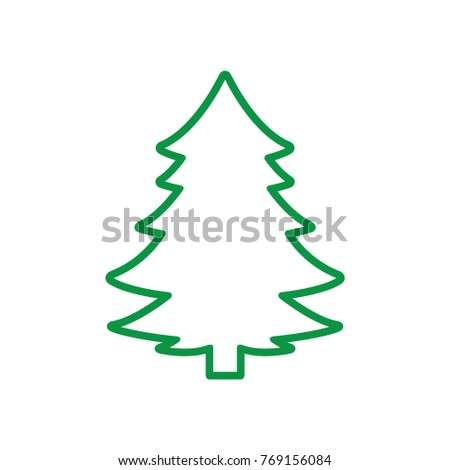 Christmas Tree Outline Vector Illustration
