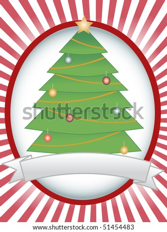 Christmas Tree Oval Banner Ray Blank Banner - stock vector