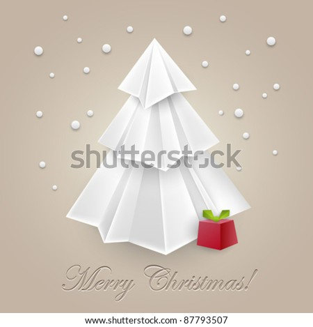 Christmas tree paper art origami for your creative design - web and print - vintage styled vector illustration