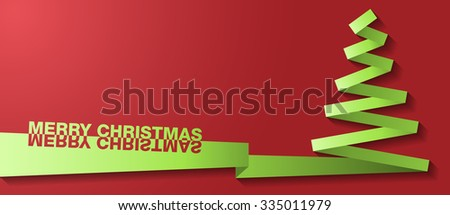 christmas tree paper vector card