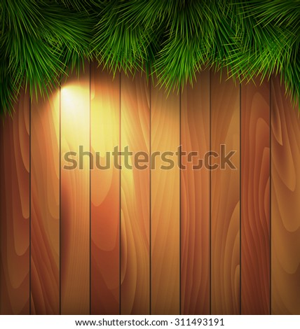 Christmas Tree Pine Branches with Light on Wooden Background - stock vector