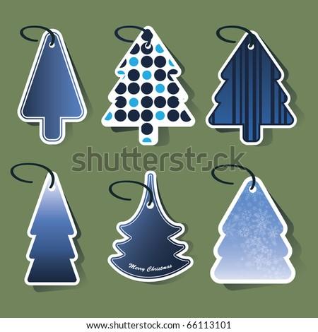 Christmas tree price tags - stock vector
