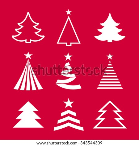 christmas tree red and white set - stock vector