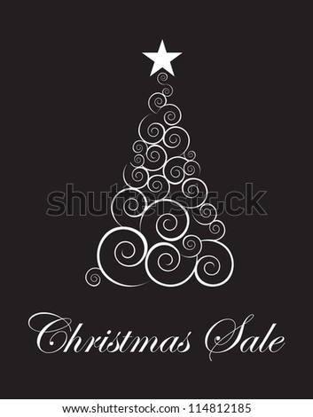 Christmas tree sales season touting over black background