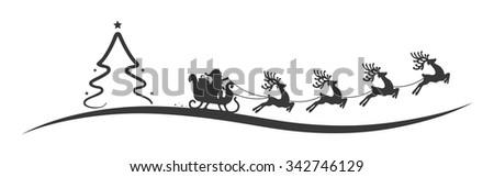 christmas tree santa claus reindeer sleigh black - stock vector