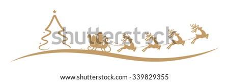 christmas tree santa claus reindeer sleigh gold - stock vector