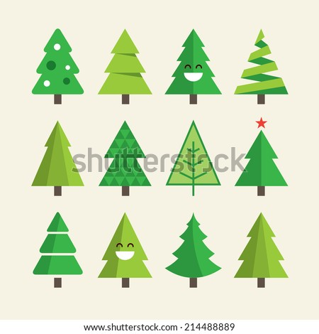 Christmas tree set - stock vector