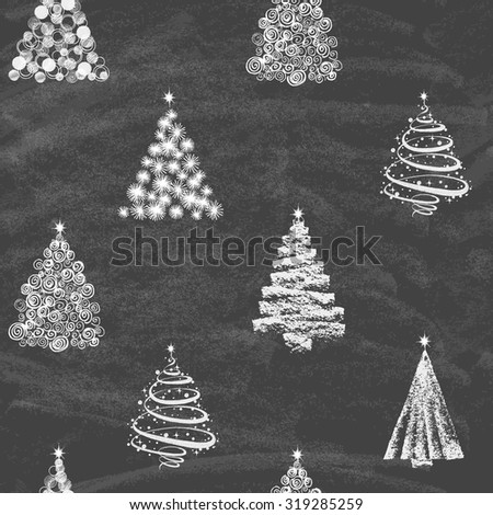 Christmas Tree Set Background, Trendy Design Template on blackboard. Seamless background. Vector illustration. - stock vector