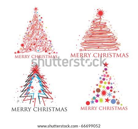 Christmas tree set design element, vector illustration - stock vector