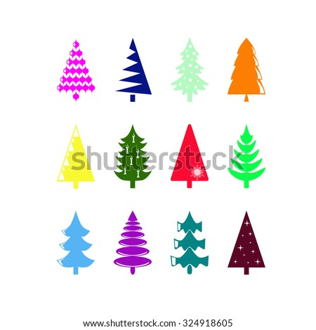 Christmas tree, set of colored icons - stock vector