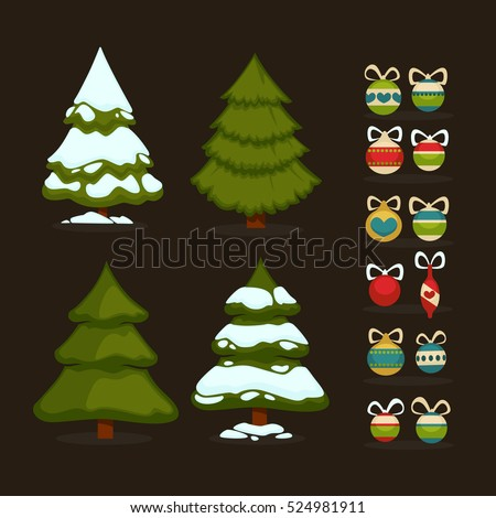 Christmas tree Set of  green trees and decoration ball. Winter  tree holiday design elements xmas fir with snow and decoration.