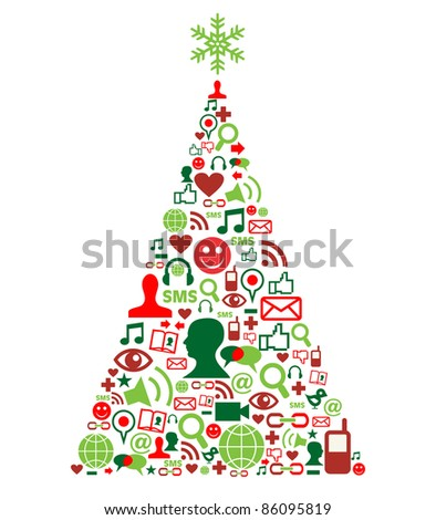 Christmas tree shape made with social media icons set, - stock vector