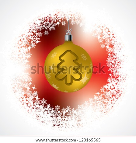 Christmas tree shape on golden decoration with red background - stock vector