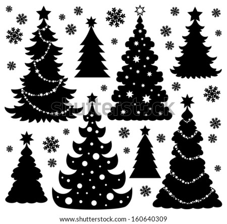 Christmas tree silhouette theme 1 - eps10 vector illustration. - stock vector