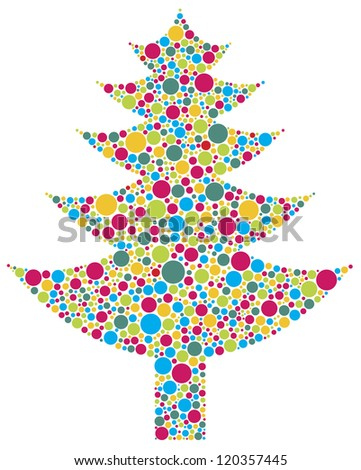 Christmas Tree Silhouette with Bright Colorful Polka Dots Pattern Illustration Isolated on White Background Vector