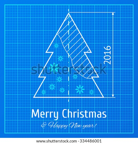 Christmas tree sketch on blue architect vector de stock334486001 christmas tree sketch on blue architect graph paper project vector illustration for new year malvernweather Gallery