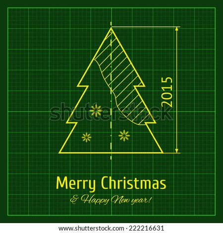 Christmas tree sketch on green architect graph paper, project. Vector illustration for New Year and Christmas for your design - stock vector
