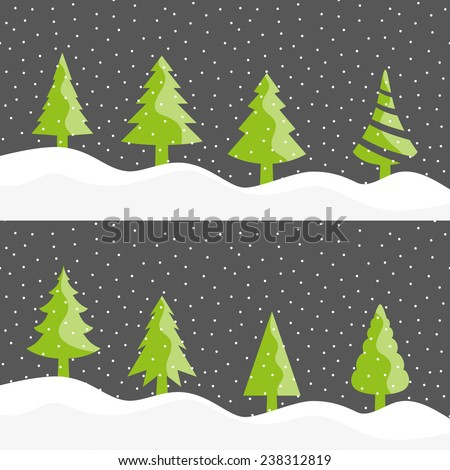 Christmas tree snowing vector collection
