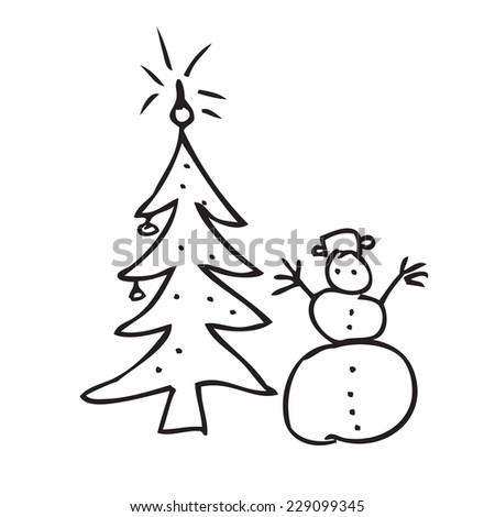 Christmas tree snowman doodle