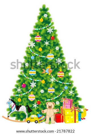 Christmas tree trimmed with baubles and ornaments, of live green color, with gifts and toys nearby it, isolated on white background ( for high res JPEG or TIFF see image 21787825 )  - stock vector