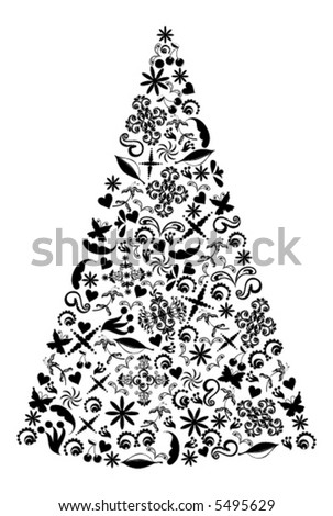 Christmas Tree vector. - stock vector