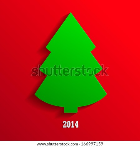 Christmas tree vector background / New Year 2014 Greeting Card - stock vector