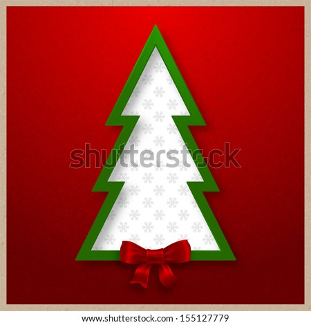 Christmas tree vector card design for Xmas holiday art - stock vector