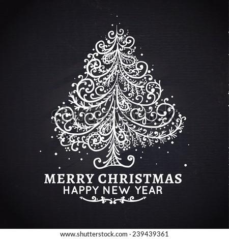 Christmas tree. Vector, chalkboard - stock vector