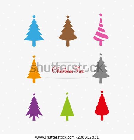 Christmas tree vector collection - stock vector