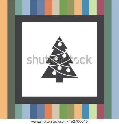 Christmas Tree vector icon. Decorated fir tree sign. New year symbol.