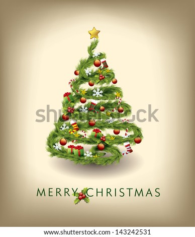 Christmas tree vector image - stock vector