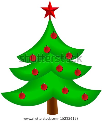 Christmas tree vector image on white - stock vector