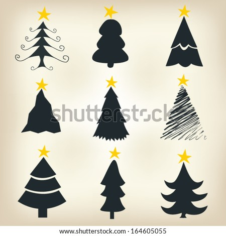 Christmas tree  vector set - stock vector
