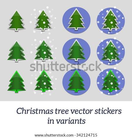 Christmas tree vector stickers in variants.  - stock vector