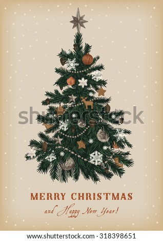 Christmas tree. Vector vintage illustration. Merry Christmas And Happy New Year. Greeting card. - stock vector