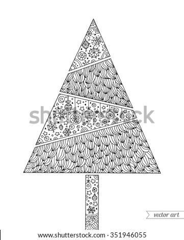 Christmas tree. Vintage card. Merry Christmas and Happy New Year. Vector hand drawn artwork. Holiday concept for invitation card, ticket, branding, boutique logo, label. Coloring book page for adult - stock vector