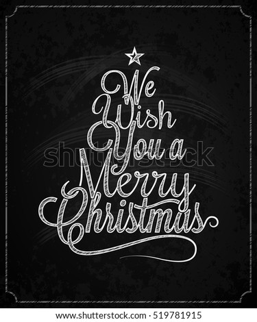 Christmas Tree Vintage Lettering Chalk Background